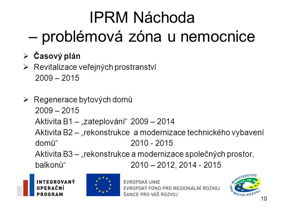 IPRM Náchoda – problémová zóna u nemocnice 10  Časový plán  Revitalizace veřejných prostranství 2009 – 2015  Regenerace bytových domů 2009 – 2015 A