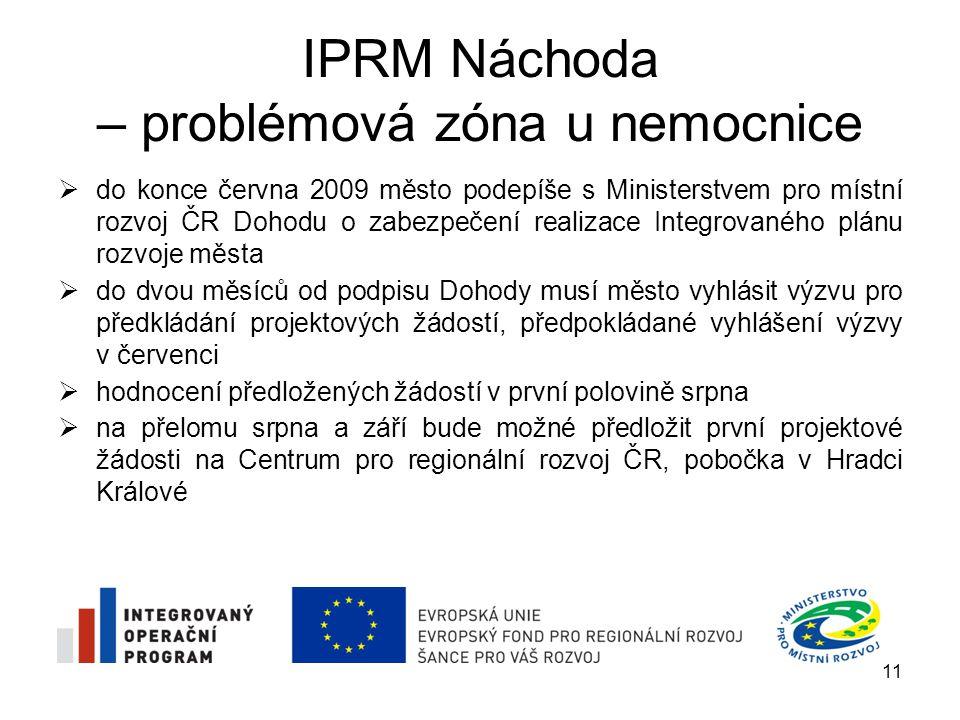 IPRM Náchoda – problémová zóna u nemocnice  do konce června 2009 město podepíše s Ministerstvem pro místní rozvoj ČR Dohodu o zabezpečení realizace I