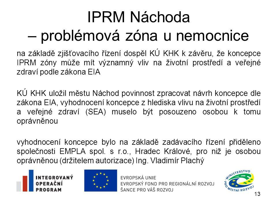 IPRM Náchoda – problémová zóna u nemocnice vyhodnocení koncepce IPRM zóny bylo dokončeno koncem dubna 2009 30.4.2009 bylo vyhodnocení koncepce předáno na KÚ KHK, dále musí následovat veřejné projednání koncepce IPRM zóny včetně vyhodnocení vlivů na životní prostředí a veřejné zdraví 1.6.2009 se koná veřejné projednání následovat bude vydání stanoviska KÚ KHK ke koncepci Stanovisko KÚ KHK bude předáno na Ministerstvo pro místní rozvoj ČR jako povinná příloha žádosti o schválení IPRM zóny 14