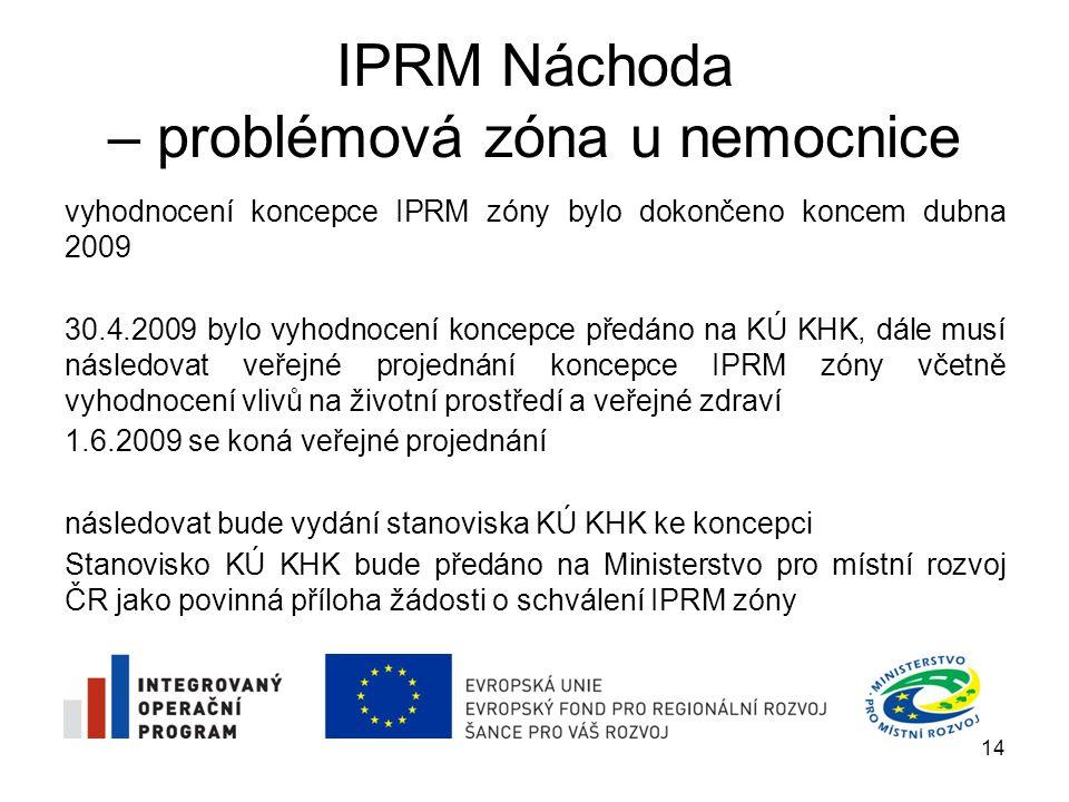 IPRM Náchoda – problémová zóna u nemocnice vyhodnocení vlivů koncepce IPRM zóny na životní prostředí a veřejné zdraví bylo dle požadavků KÚ KHK zaměřeno zejména na: zdravotní rizika z pobytu dětí na hřišti založeném na uzavřené skládce odpadů opatření k eliminaci, minimalizaci a kompenzaci negativních vlivů (při střetech nově navrhovaných záměrů s jednotlivými složkami životního prostředí) vypořádání všech vyjádření dotčených orgánu ke koncepci, které KÚ KHK obdržel v rámci zjišťovacího řízení 15