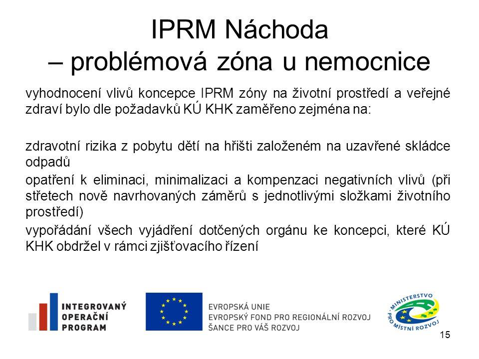 IPRM Náchoda – problémová zóna u nemocnice předmětem posouzení SEA byl vliv IPRM zóny na jednotlivé složky životního prostředí a na veřejné zdraví Zemědělský půdní fond (ZPF) k ovlivnění bude docházet zejména výstavbou nově navrhovaných záměrů na nezpevněných plochách vzhledem k neznalosti přesného umístění jednotlivých záměrů nelze vliv na půdy kategorie ZPF objektivně určit Pozemek určený k plnění funkce lesa půdy této kategorie se na vymezeném území nevyskytují vliv koncepce na tyto pozemky nulový 16