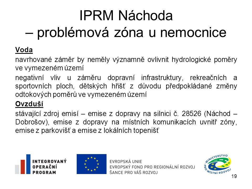 IPRM Náchoda – problémová zóna u nemocnice Voda navrhované záměr by neměly významně ovlivnit hydrologické poměry ve vymezeném území negativní vliv u z