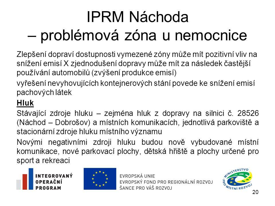IPRM Náchoda – problémová zóna u nemocnice Zlepšení dopraví dostupnosti vymezené zóny může mít pozitivní vliv na snížení emisí X zjednodušení dopravy