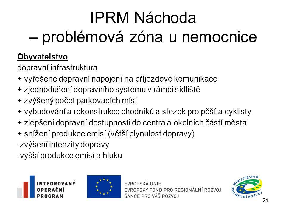IPRM Náchoda – problémová zóna u nemocnice Technická infrastruktura + výstavba a modernizace veřejného osvětlení a pořízení venkovního bezpečnostního kamerového systému by měla vést ke snížení kriminality a rušení nočního klidu + výstavba nových kontejnerových stání přispěje ke snížení lokálních problémů s hygienickou čistotou obytného prostředí 22
