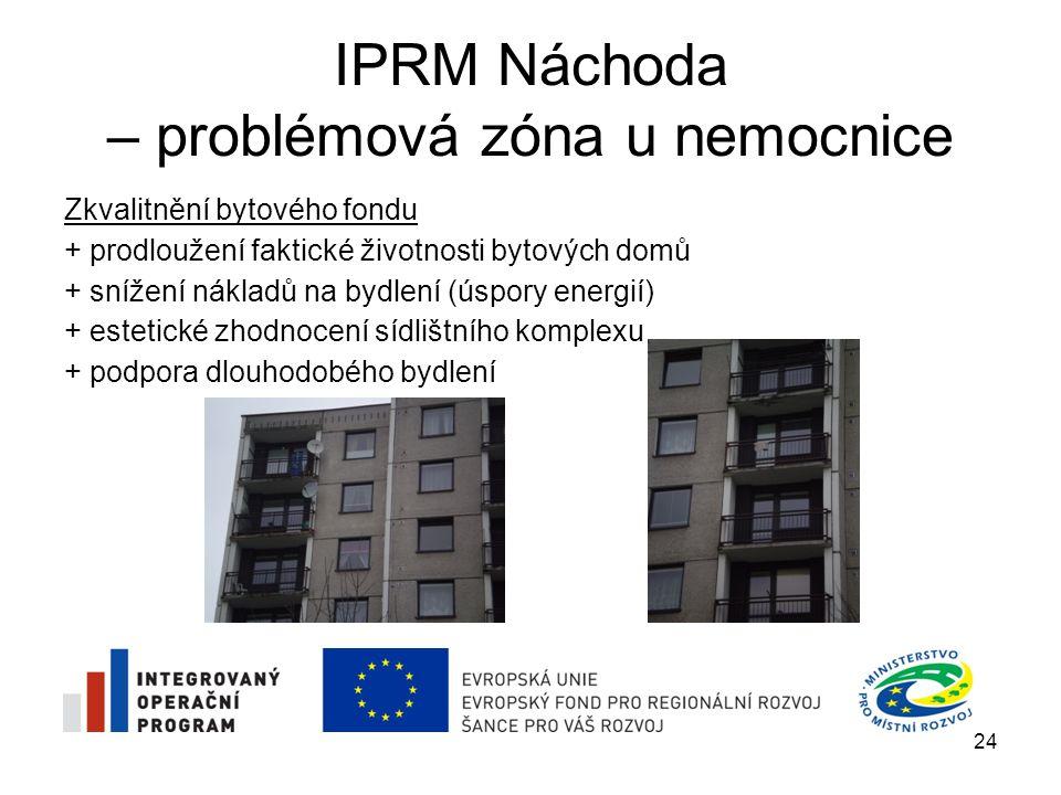 IPRM Náchoda – problémová zóna u nemocnice Zkvalitnění bytového fondu + prodloužení faktické životnosti bytových domů + snížení nákladů na bydlení (ús