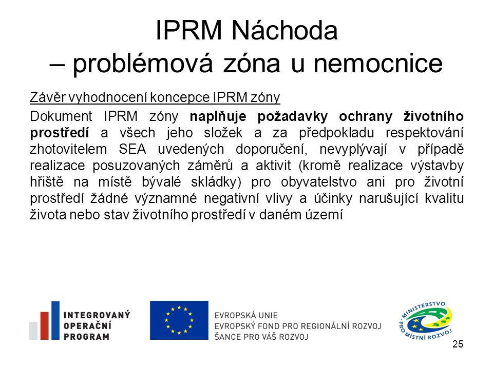 IPRM Náchoda – problémová zóna u nemocnice Závěr vyhodnocení koncepce IPRM zóny Dokument IPRM zóny naplňuje požadavky ochrany životního prostředí a vš