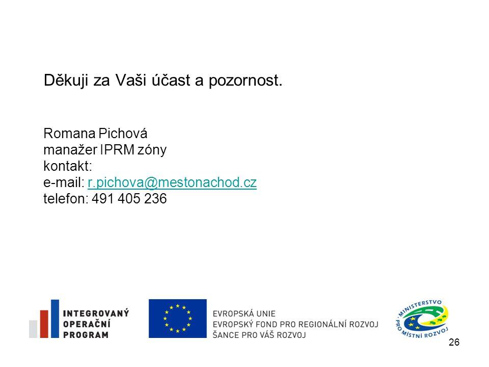 Romana Pichová manažer IPRM zóny kontakt: e-mail: r.pichova@mestonachod.cz telefon: 491 405 236r.pichova@mestonachod.cz Děkuji za Vaši účast a pozorno