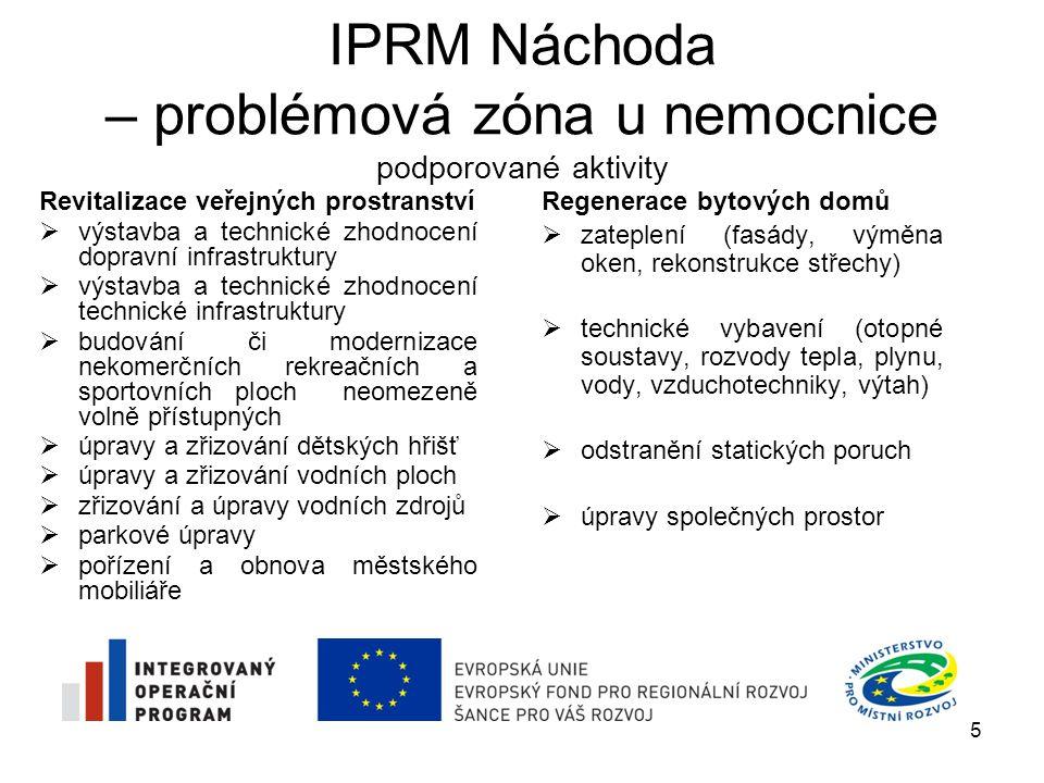 IPRM Náchoda – problémová zóna u nemocnice podporované aktivity Revitalizace veřejných prostranství  výstavba a technické zhodnocení dopravní infrast
