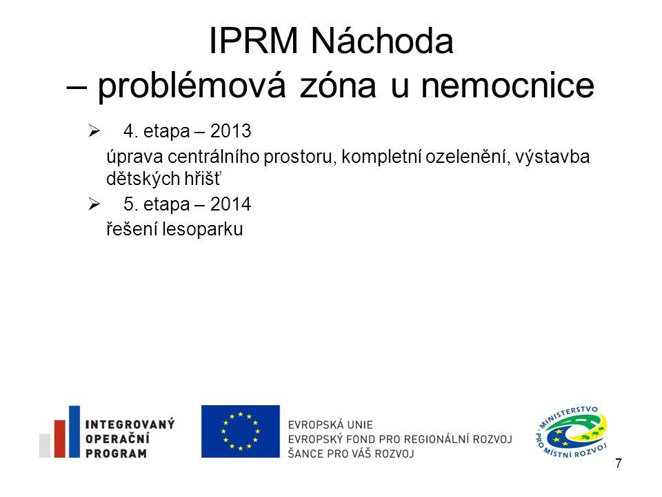 IPRM Náchoda – problémová zóna u nemocnice  z důvodu snížení finančních prostředků dotace o cca 20 % bylo nutné změnit a aktualizovat některé údaje v Dokumentu IPRM zóny a v Žádosti o dotaci  nejvíce se aktualizace dotýká finančního a částečně i časového harmonogramu realizace IPRM zóny 8