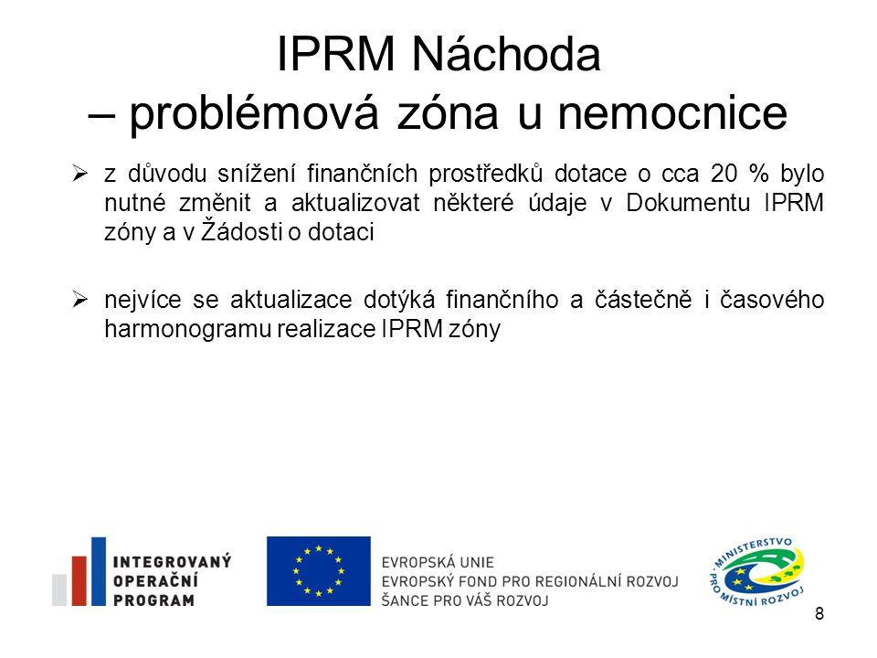 IPRM Náchoda – problémová zóna u nemocnice  z důvodu snížení finančních prostředků dotace o cca 20 % bylo nutné změnit a aktualizovat některé údaje v