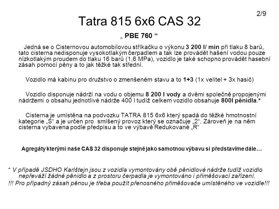 Tatra 815 6x6 CAS 32 Agregáty v CAS 32 : Plovoucí čerpadlo Niagara o výkonu 800 l/min + pohonné hmoty (PHM) Řetězová motorová pila Husqvarna + PHM + Náhradní řetěz a nářadí Oba tyto agregáty jsou umístěny v pravých předních dveřích na CAS 32 Další vybavení… Mezi další vybavení mimo základního vybavení cisteren je CAS 32 v naší jednotce vybavena 3 kusy přetlakových Dýchacích přístrojů AUER s vývody pro vyváděcí masky, u dýchacích přístrojů jsou umístěny masky k dýchacímu přístroji a 1 kus vyváděcí masky Dragër v obalu.