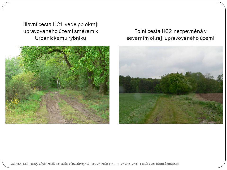Hlavní cesta HC1 vede po okraji upravovaného území směrem k Urbanickému rybníku Polní cesta HC2 nezpevněná v severním okraji upravovaného území ALINEX