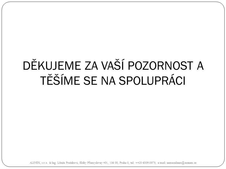 DĚKUJEME ZA VAŠÍ POZORNOST A TĚŠÍME SE NA SPOLUPRÁCI ALINEX, s.r.o. & Ing. Libuše Pražáková, Elišky P ř emyslovny 401, 156 00, Praha-5, tel: +420 6059