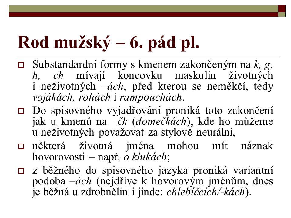 Rod mužský – 6.pád pl.  Jde tu o soubor koncovek –ích/-ách/-ech.