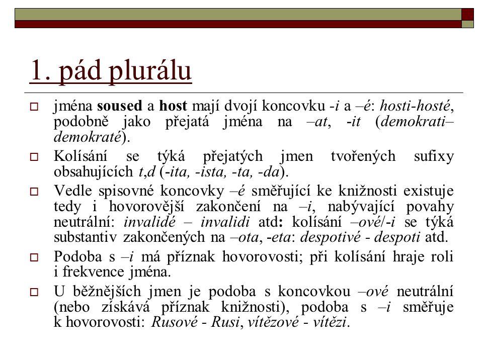 """1.pád plurálu  Jméno manžel – manželé ve významu """"ženatí muži může stát také jako manželové."""