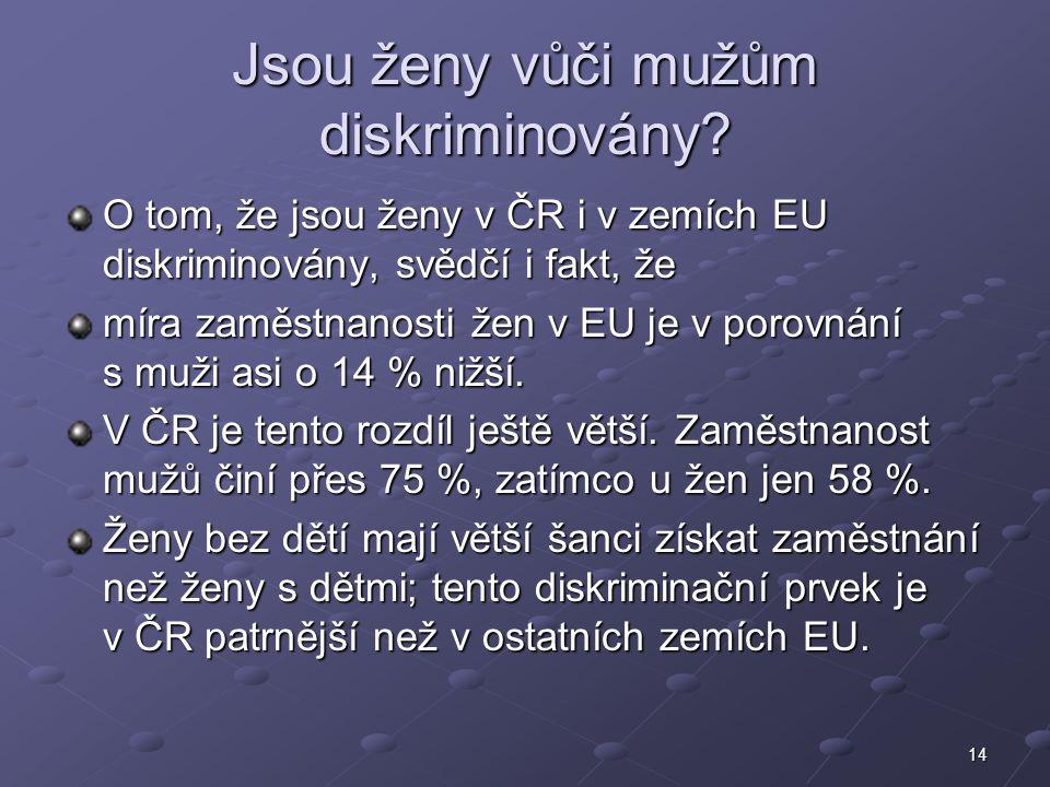 14 Jsou ženy vůči mužům diskriminovány? O tom, že jsou ženy v ČR i v zemích EU diskriminovány, svědčí i fakt, že míra zaměstnanosti žen v EU je v poro