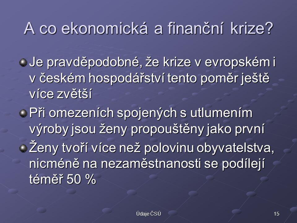 15Údaje ČSÚ A co ekonomická a finanční krize? Je pravděpodobné, že krize v evropském i v českém hospodářství tento poměr ještě více zvětší Při omezení