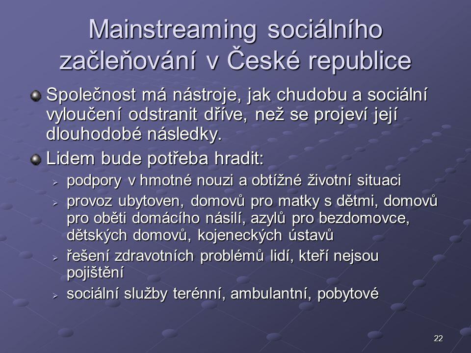 22 Mainstreaming sociálního začleňování v České republice Společnost má nástroje, jak chudobu a sociální vyloučení odstranit dříve, než se projeví jej