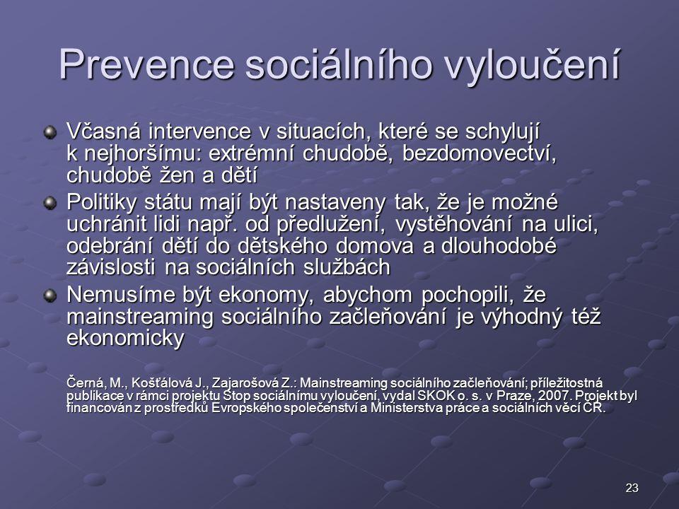 23 Prevence sociálního vyloučení Včasná intervence v situacích, které se schylují k nejhoršímu: extrémní chudobě, bezdomovectví, chudobě žen a dětí Po