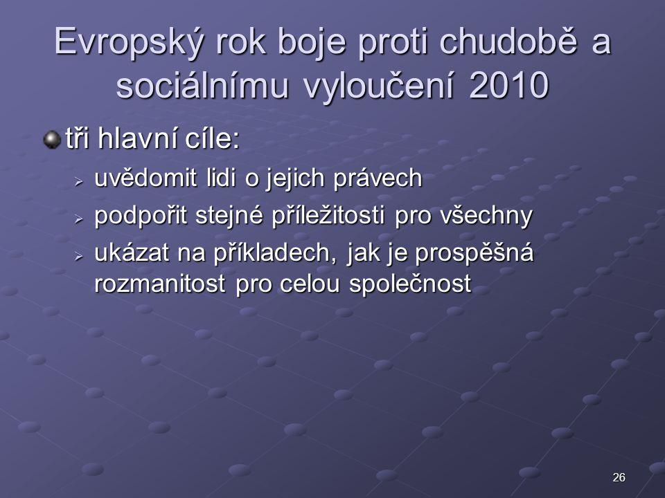 26 Evropský rok boje proti chudobě a sociálnímu vyloučení 2010 tři hlavní cíle:  uvědomit lidi o jejich právech  podpořit stejné příležitosti pro vš