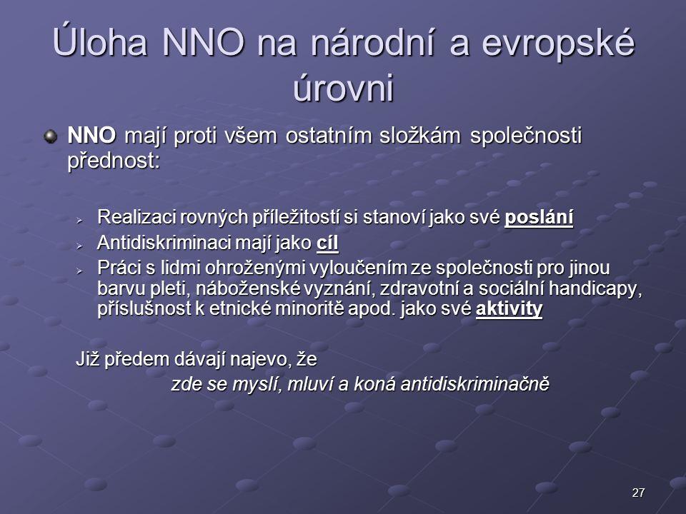 27 Úloha NNO na národní a evropské úrovni NNO mají proti všem ostatním složkám společnosti přednost:  Realizaci rovných příležitostí si stanoví jako