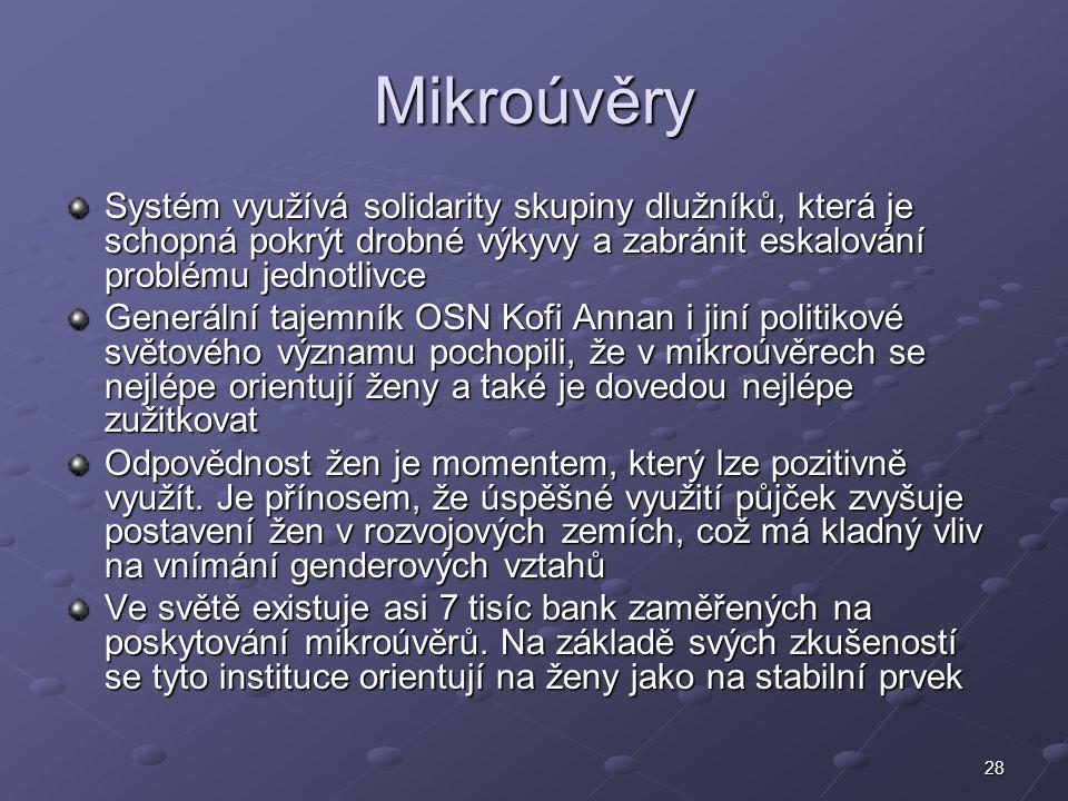 28 Mikroúvěry Systém využívá solidarity skupiny dlužníků, která je schopná pokrýt drobné výkyvy a zabránit eskalování problému jednotlivce Generální t