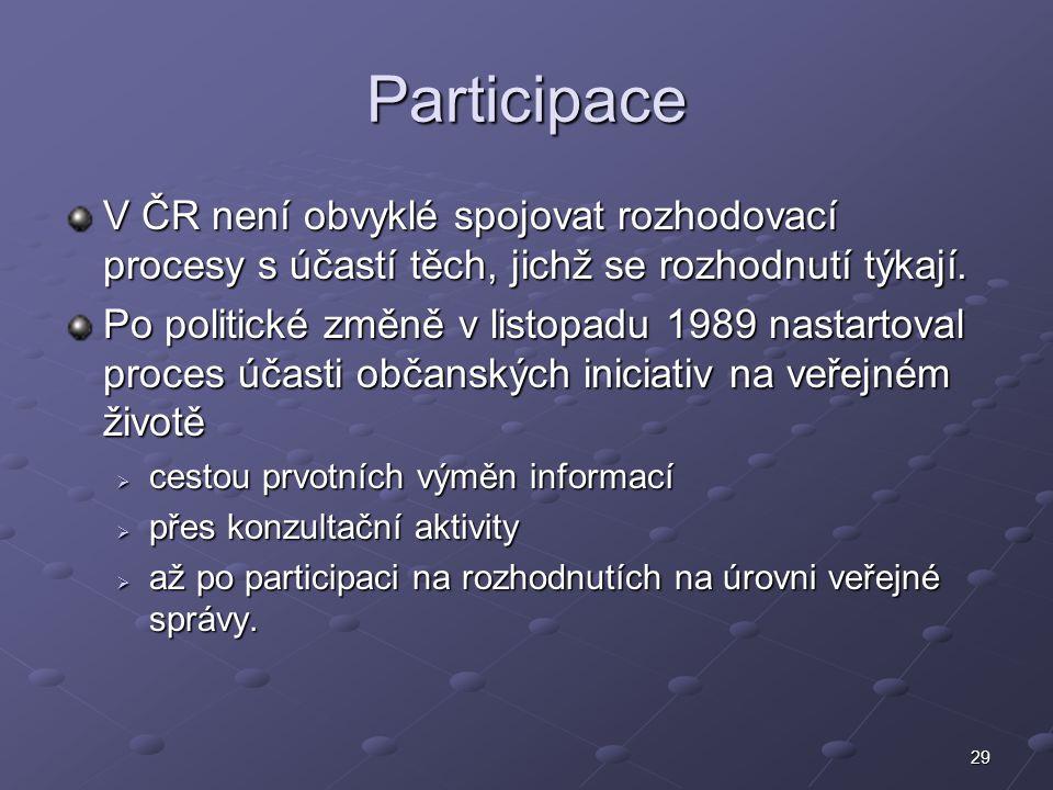 29 Participace V ČR není obvyklé spojovat rozhodovací procesy s účastí těch, jichž se rozhodnutí týkají. Po politické změně v listopadu 1989 nastartov
