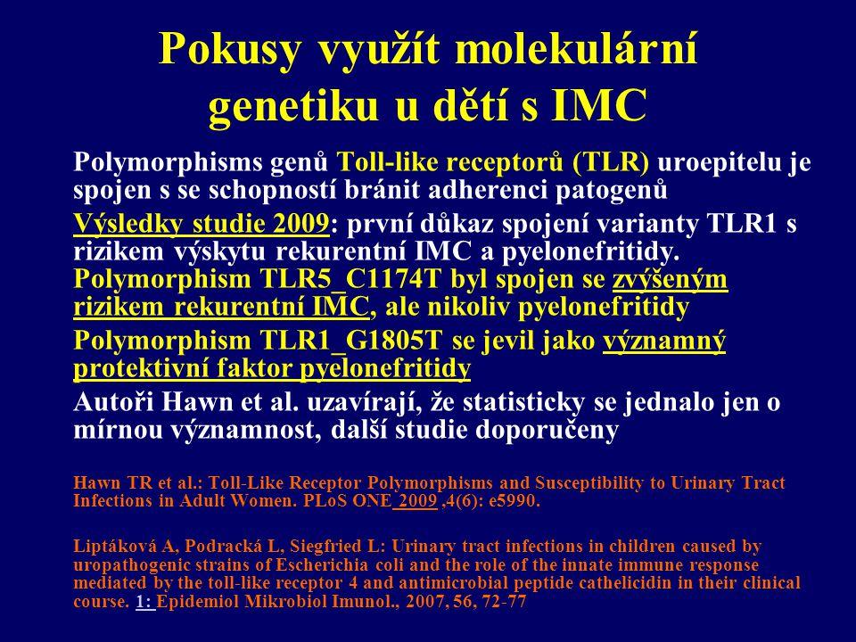 Pokusy využít molekulární genetiku u dětí s IMC Polymorphisms genů Toll-like receptorů (TLR) uroepitelu je spojen s se schopností bránit adherenci pat