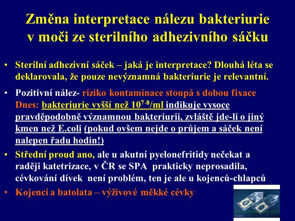 Změna interpretace nálezu bakteriurie v moči ze sterilního adhezivního sáčku •Sterilní adhezivní sáček – jaká je interpretace? Dlouhá léta se deklarov