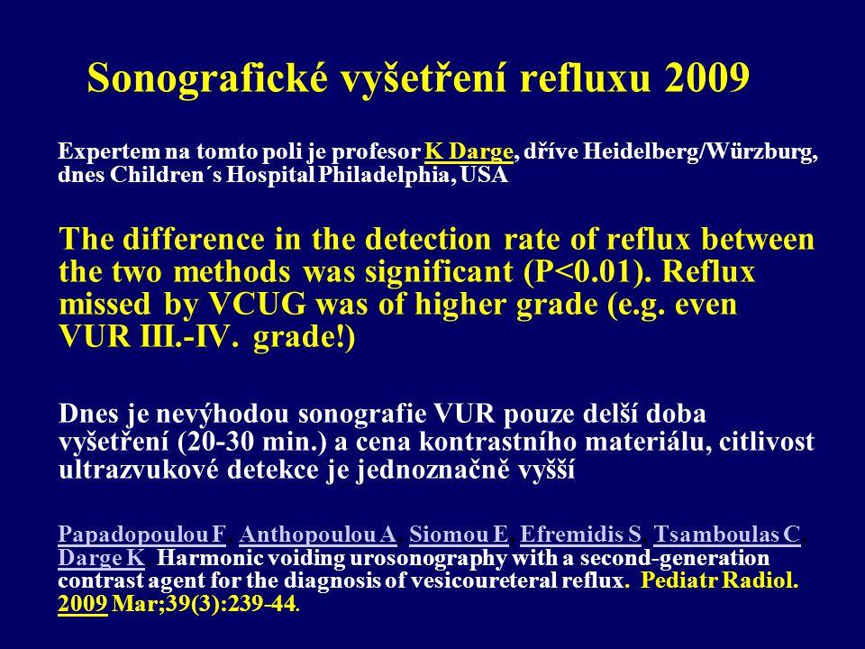 Sonografické vyšetření refluxu 2009 Expertem na tomto poli je profesor K Darge, dříve Heidelberg/Würzburg, dnes Children´s Hospital Philadelphia, USA