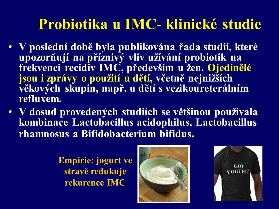 Probiotika u IMC- klinické studie •V poslední době byla publikována řada studií, které upozorňují na příznivý vliv užívání probiotik na frekvenci reci