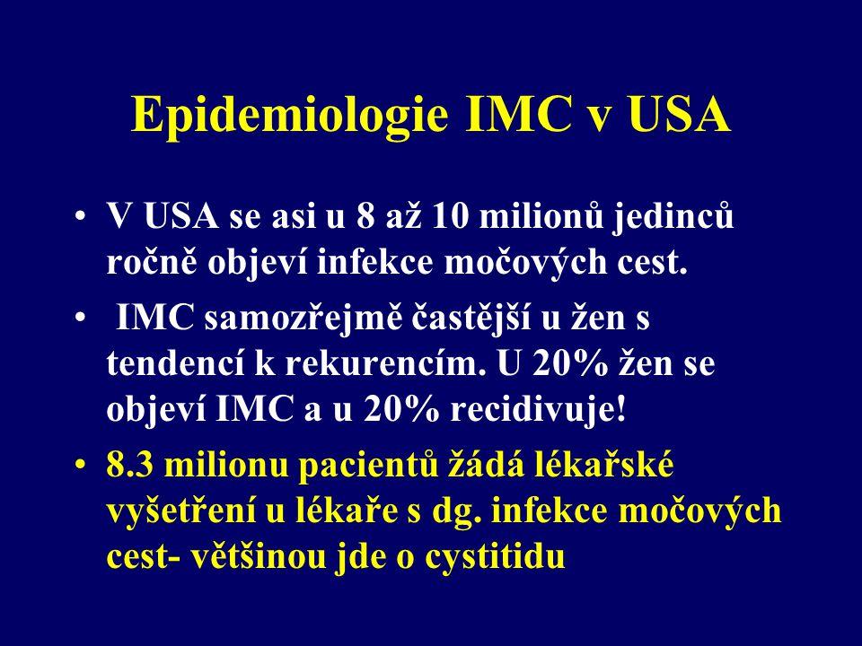 Epidemiologie IMC v USA •V USA se asi u 8 až 10 milionů jedinců ročně objeví infekce močových cest. • IMC samozřejmě častější u žen s tendencí k rekur