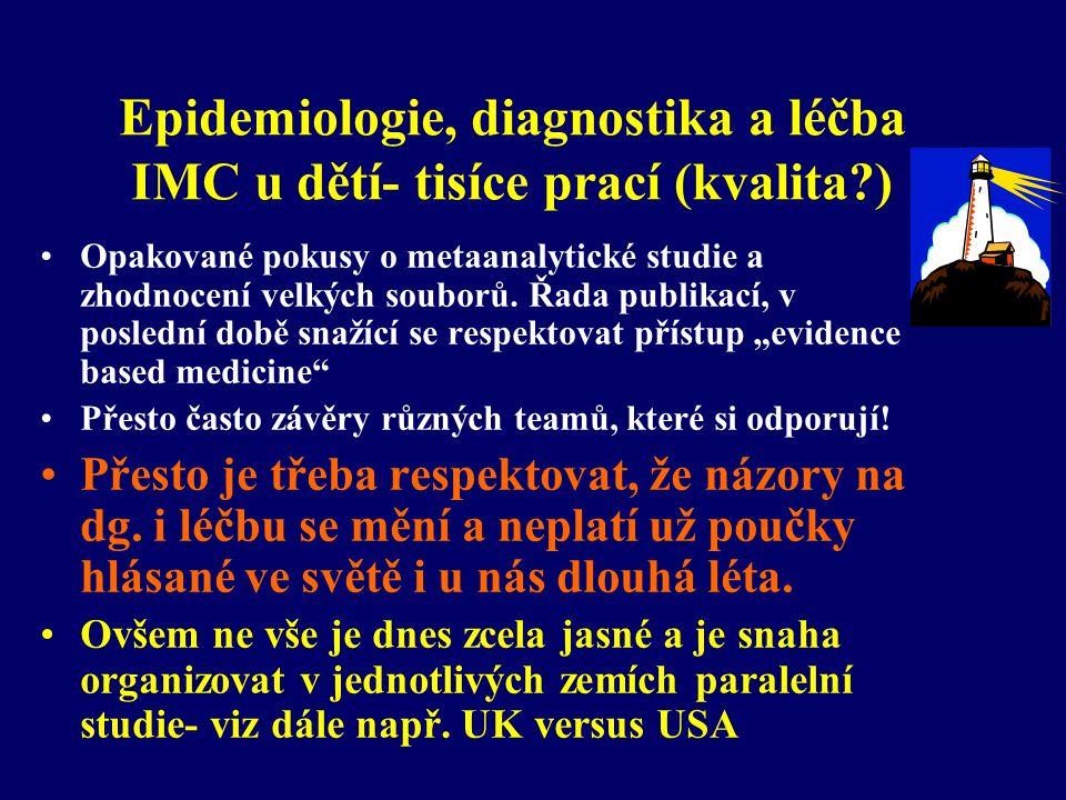 Epidemiologie, diagnostika a léčba IMC u dětí- tisíce prací (kvalita?) •Opakované pokusy o metaanalytické studie a zhodnocení velkých souborů. Řada pu