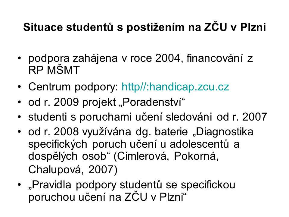 Situace studentů s postižením na ZČU v Plzni •podpora zahájena v roce 2004, financování z RP MŠMT •Centrum podpory: http//:handicap.zcu.cz •od r. 2009