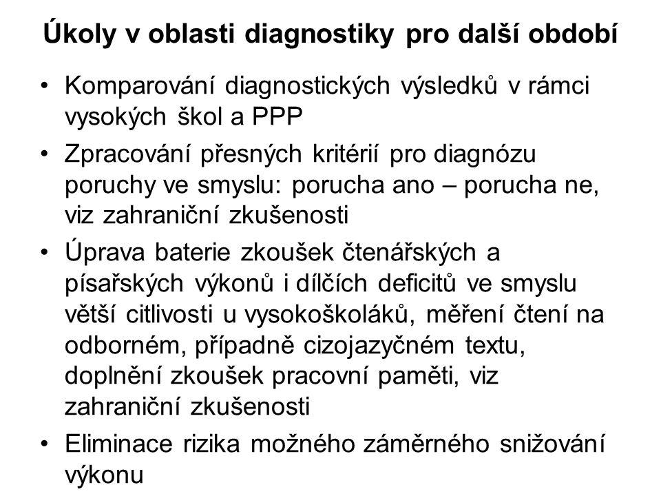 Úkoly v oblasti diagnostiky pro další období •Komparování diagnostických výsledků v rámci vysokých škol a PPP •Zpracování přesných kritérií pro diagnó