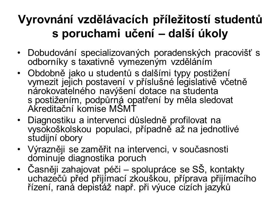 Otázky z odborné oblasti •Z čeho má vycházet diagnóza PU u studentů VŠ.
