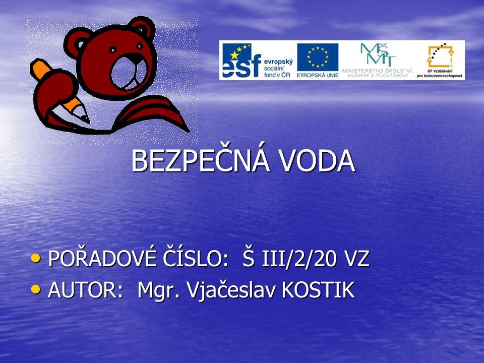 BEZPEČNÁ VODA • POŘADOVÉ ČÍSLO: Š III/2/20 VZ • AUTOR: Mgr. Vjačeslav KOSTIK