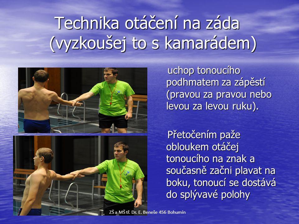 Technika otáčení na záda (vyzkoušej to s kamarádem) Technika otáčení na záda (vyzkoušej to s kamarádem) uchop tonoucího podhmatem za zápěstí (pravou z