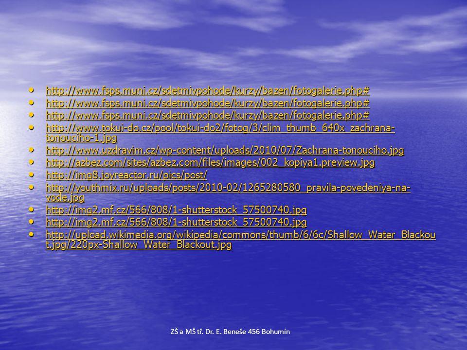 • http://www.fsps.muni.cz/sdetmivpohode/kurzy/bazen/fotogalerie.php# http://www.fsps.muni.cz/sdetmivpohode/kurzy/bazen/fotogalerie.php# • http://www.f