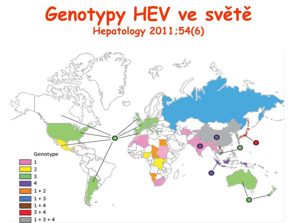 Genotypy HEV ve světě Hepatology 2011;54(6)