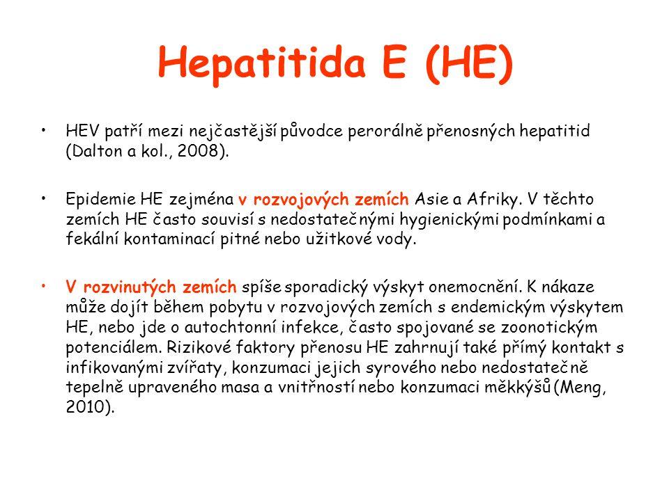 Hepatitida E (HE) •HEV patří mezi nejčastější původce perorálně přenosných hepatitid (Dalton a kol., 2008).