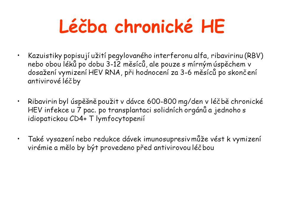 Léčba chronické HE •Kazuistiky popisují užití pegylovaného interferonu alfa, ribavirinu (RBV) nebo obou léků po dobu 3-12 měsíců, ale pouze s mírným úspěchem v dosažení vymizení HEV RNA, při hodnocení za 3-6 měsíců po skončení antivirové léčby •Ribavirin byl úspěšně použit v dávce 600-800 mg/den v léčbě chronické HEV infekce u 7 pac.
