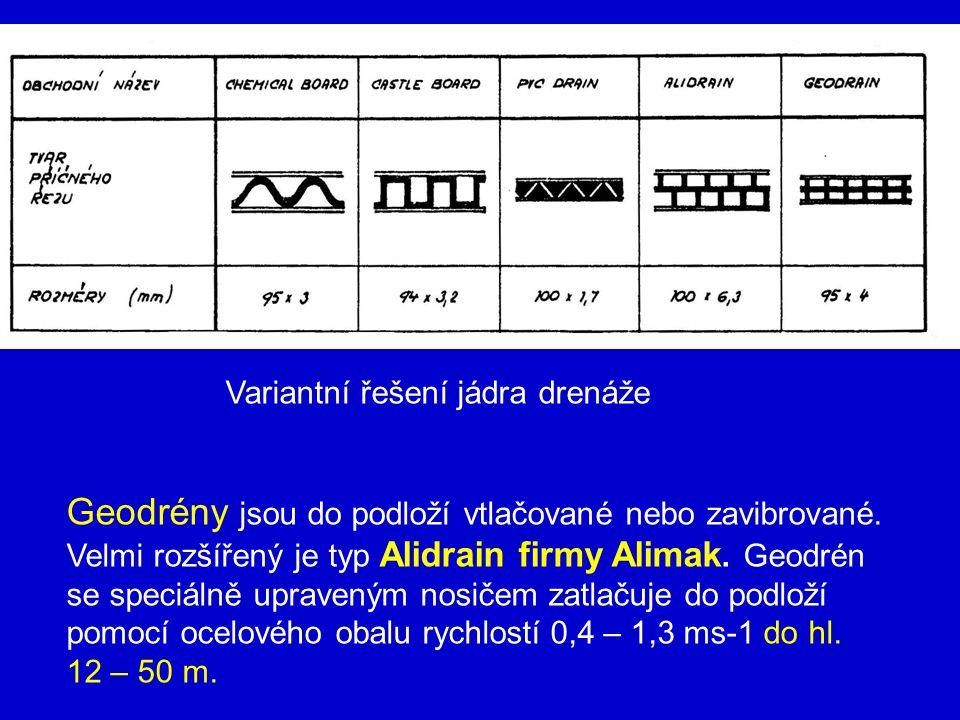 Variantní řešení jádra drenáže Geodrény jsou do podloží vtlačované nebo zavibrované. Velmi rozšířený je typ Alidrain firmy Alimak. Geodrén se speciáln