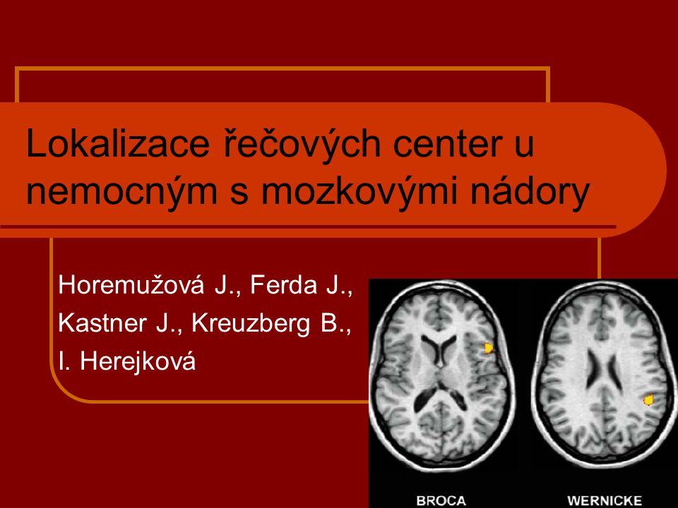 Řečová centra:  u praváků obvykle uložená vlevo  Brocovo motorické centrum  v pars opercularis gyri frontalis inferior  tato oblast umožňuje slovní a písemné vyjádření myšlenek  Wernickeho senzorické centrum  v zadní části gyrus temporalis superior mezi primárním sluchovým centrem a gyrus angularis  tato oblast je nutná pro pochopení slyšené a psané řeči  Fasciculus arcuatus  Primární a sekundární zraková kůra a primární sluchová kůra Zdroj: Clinical Functional MRI Autor: A.L.Baert, M.Knauth, K.sartor