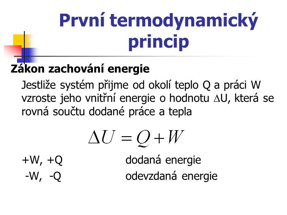 První termodynamický princip Zákon zachování energie Jestliže systém přijme od okolí teplo Q a práci W vzroste jeho vnitřní energie o hodnotu  U, kte