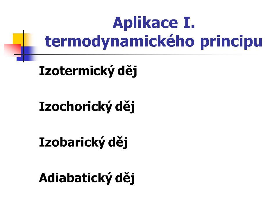 Aplikace I. termodynamického principu Izotermický děj Izochorický děj Izobarický děj Adiabatický děj