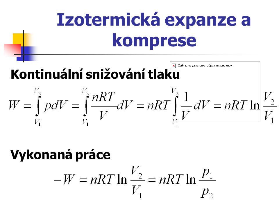 Izotermická expanze a komprese Kontinuální snižování tlaku Vykonaná práce