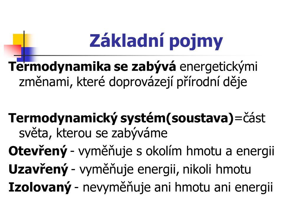 Základní pojmy Termodynamika se zabývá energetickými změnami, které doprovázejí přírodní děje Termodynamický systém(soustava)=část světa, kterou se za