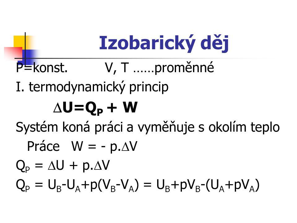 Izobarický děj P=konst.V, T ……proměnné I. termodynamický princip  U=Q P + W Systém koná práci a vyměňuje s okolím teplo Práce W = - p.  V Q P =  U