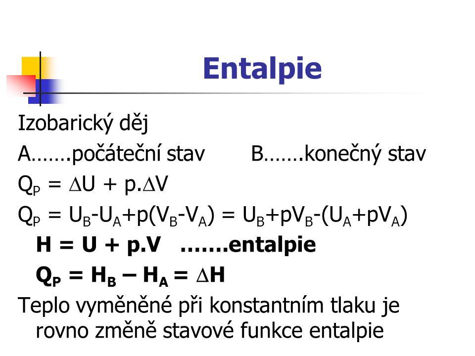 Entalpie Izobarický děj A…….počáteční stav B…….konečný stav Q P =  U + p.  V Q P = U B -U A +p(V B -V A ) = U B +pV B -(U A +pV A ) H = U + p.V …….e